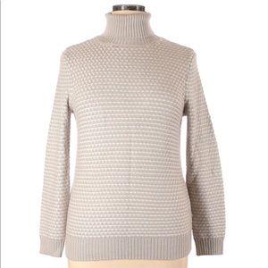 ✅ M Magaschoni Beige Grey White Turtleneck Sweater